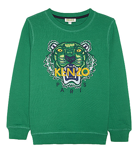 KENZO Tiger icon cotton jumper 4-16 years (Light+green