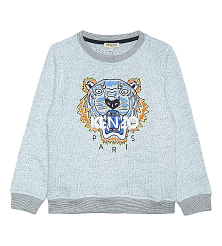 KENZO Tiger cotton jumper 4-16 years (Marled+blue