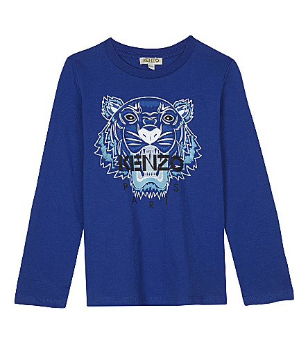 KENZO Logo cotton long sleeved top 4-16 years (Blue