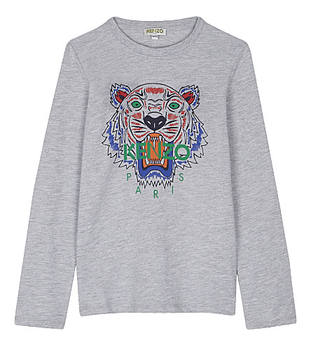 KENZO Tiger cotton-blend long-sleeved top 4-16 years (Grey