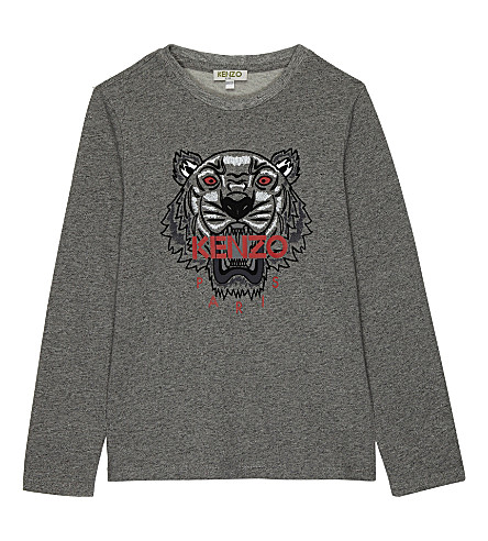 KENZO Flocked tiger logo cotton long-sleeved top 4-16 years (Grey