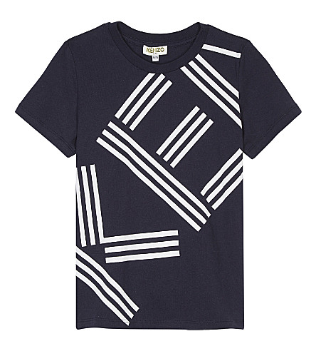 KENZO Logo cotton T-shirt 4-16 years (Navy