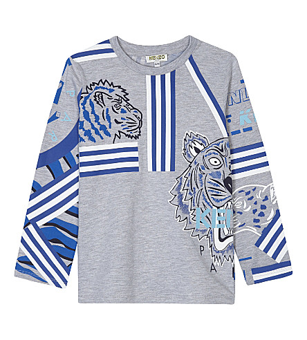 KENZO Striped tiger long-sleeved t-shirt 4-16 years (Grey