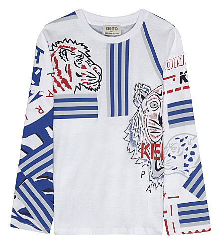 KENZO Tiger and stripe long-sleeve top 4-16 years (White/navy