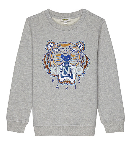 KENZO Embroidered tiger logo cotton jumper 4-16 years (Grey