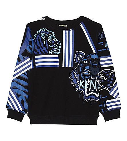 KENZO Striped tiger cotton sweatshirt 4-16 years (Black