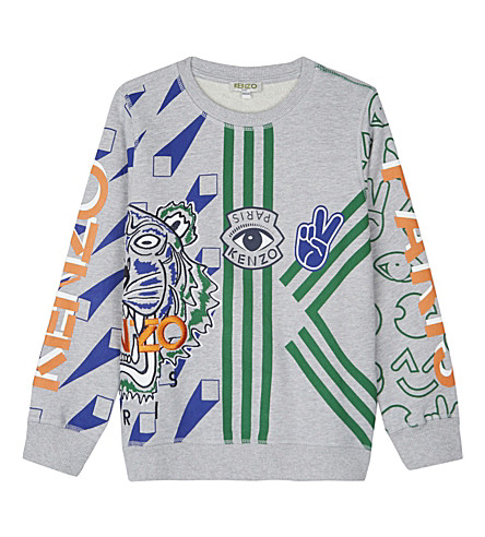 KENZO Embroidered tiger logo sweater 4-16 years (Grey