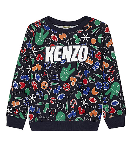 KENZO Symbol print cotton jumper 4-16 years (Navy