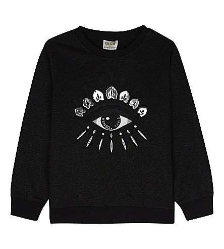 KENZO Mirror eye metallic sweatshirt 4-16 years (Black