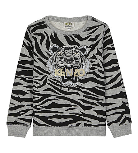 KENZO Striped tiger cotton sweatshirt 4-16 years (Grey