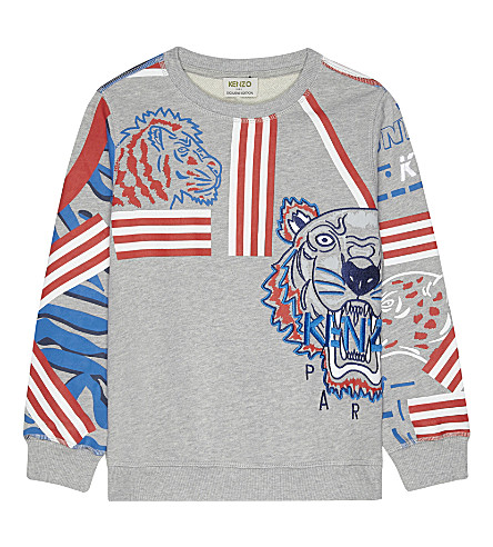 KENZO Animal print cotton sweatshirt 4-16 years (Grey/navy
