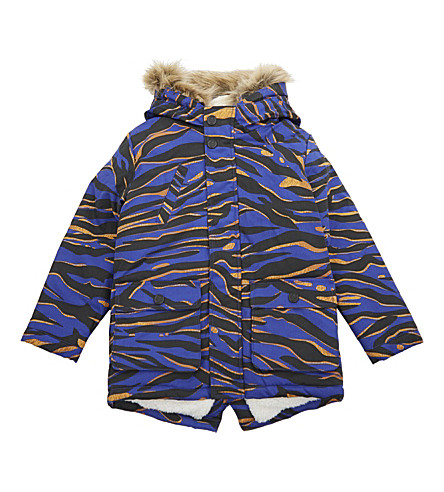 KENZO Tiger stripe cotton parka coat 4-16 years (Blue