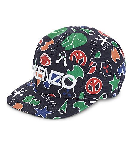 KENZO Peace print cotton baseball cap 5-16 years (Navy