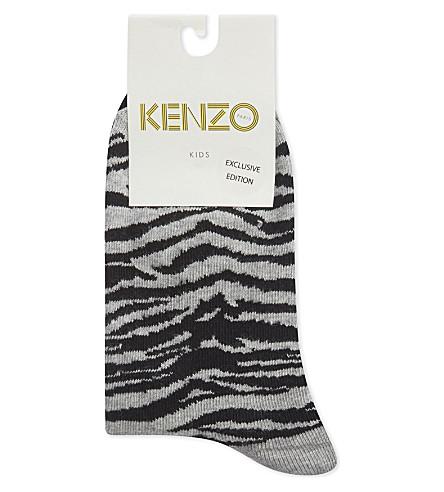 KENZO Patterned cotton-blend socks 2-pack (Black+and+grey