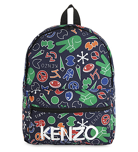 KENZO Peace print cotton backpack (Navy