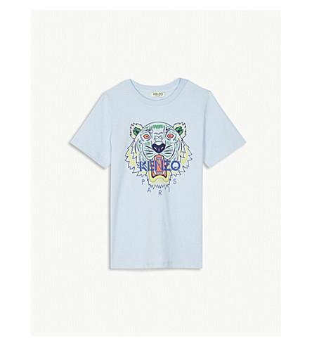 KENZO Tiger-print cotton T-shirt 4-16 years (Light+blue