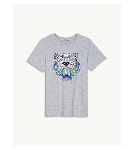 KENZO Tiger print cotton-blend T-shirt 4-16 years (Marled+grey