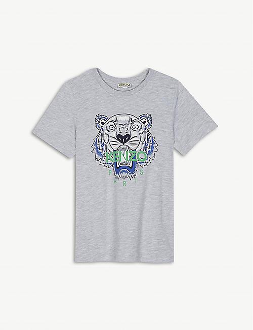 KENZO Tiger print cotton-blend T-shirt 4-16 years