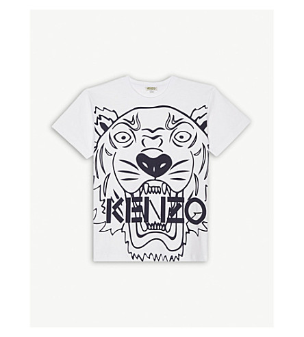 KENZO Large tiger print cotton T-shirt 4-16 years (Navy
