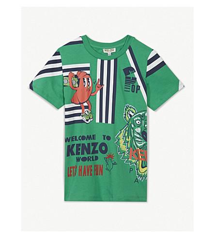 KENZO Kenzo World Party print cotton T-shirt 4-14 years (Green
