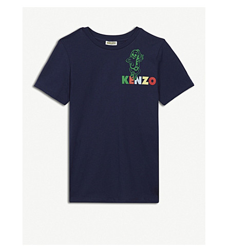 KENZO Logo print cotton T-shirt 4-16 years (Navy