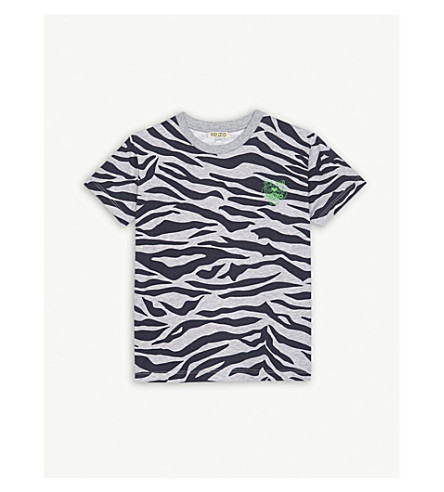KENZO Tiger stripe T-shirt 4-16 years (Marled+grey