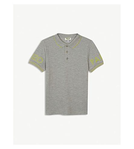 KENZO Sleeve logo cotton polo shirt 4-16 years (Marled+grey