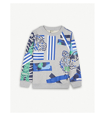 KENZO Tiger & friends cotton jumper 4-16 years (Marled+grey