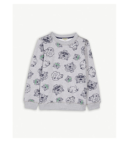 KENZO Tiger print cotton jumper 4-16 years (Marled+grey
