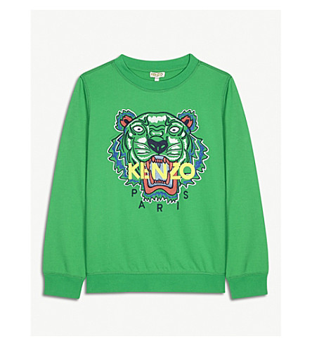 KENZO Tiger cotton sweatshirt 4-16 years (Green