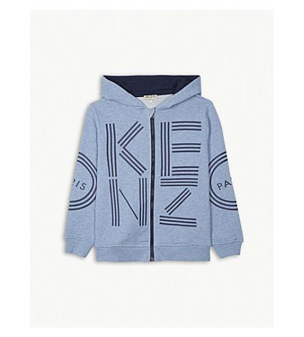 KENZO Logo zip-up cotton hoody 4-16 years (Light+blue