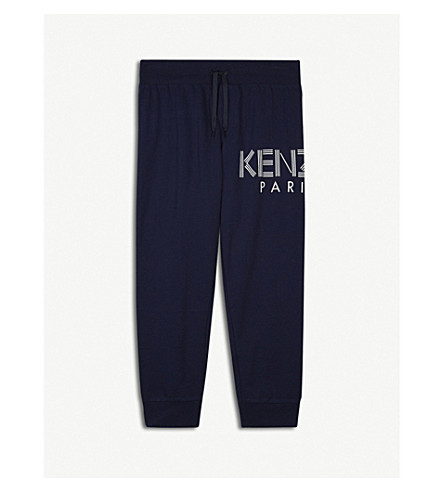 KENZO Logo cotton jogging bottoms 4-16 years (Navy