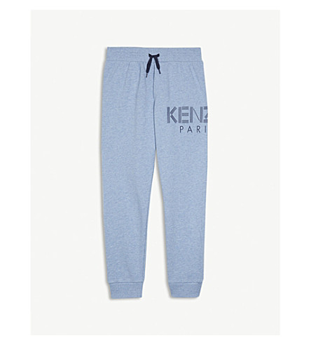 KENZO Logo cotton jogging bottoms 4-16 years (Light+blue