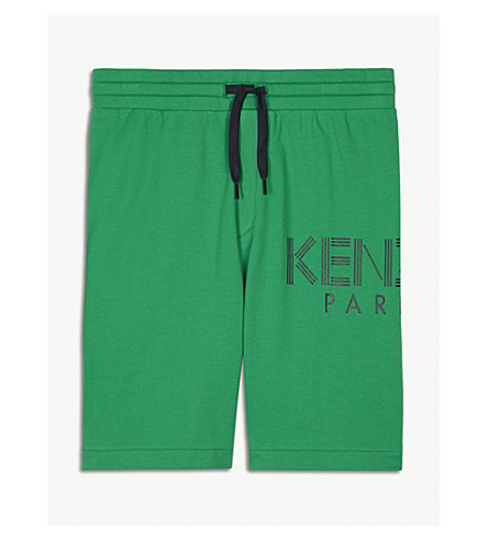 KENZO Logo cotton jersey shorts 4-16 years (Green