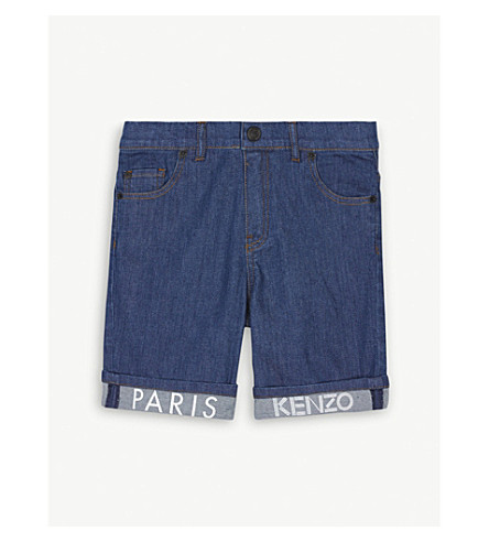 KENZO Branded turn-up denim shorts 4-16 years (Denim