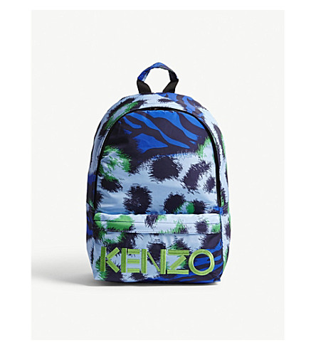 KENZO Tiger print nylon backpack (Navy