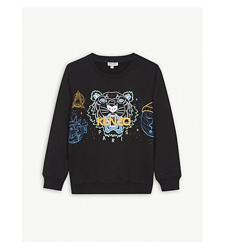 KENZO Cosmic tiger cotton-blend sweatshirt 4-16 years (Black