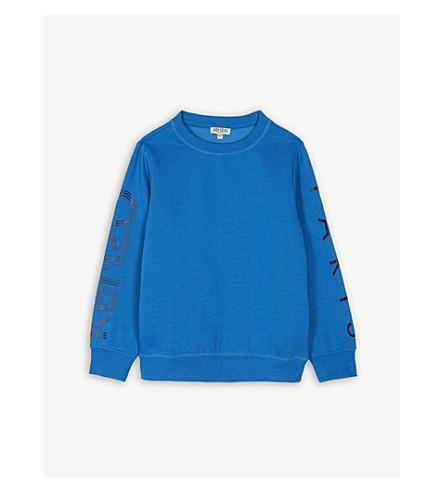 KENZO Logo arm cotton-blend jumper 4-16 years (Vivid+blue