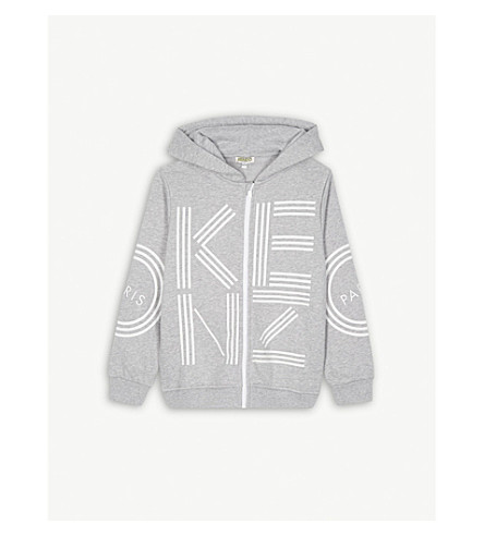 KENZO Logo cotton-blend hoody 4-16 years (Marl+grey