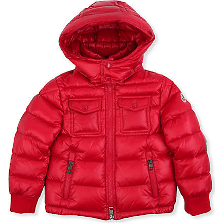 MONCLER Fedor cable-knit collar jacket 8-14 years (Red
