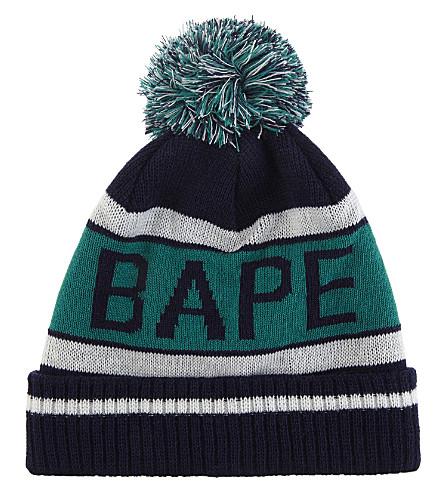 A BATHING APE Logo knitted bobble hat (Navy