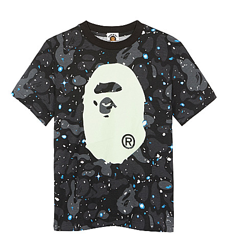 A BATHING APE Camouflage glow-in-the-dark cotton T-shirt 4-8 years (Black