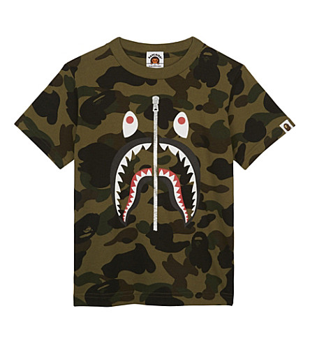 A BATHING APE Shark Camo cotton T-shirt 4-8 years (Green