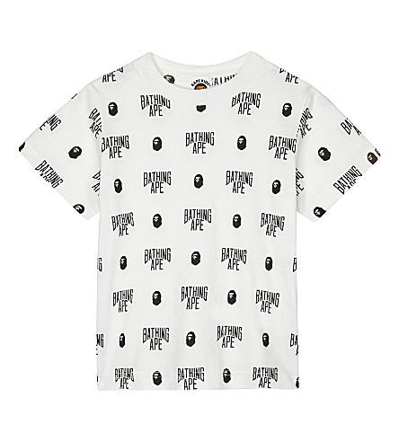 A BATHING APE Logo print cotton T-shirt 4-8 years (White