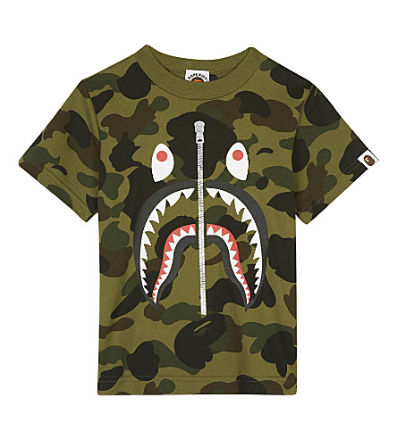 A BATHING APE Sark camouflage cotton T-shirt 4-8 years (Green