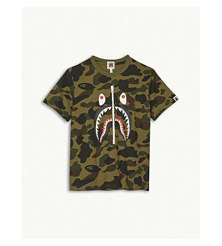 A BATHING APE Shark zip print cotton T-shirt 4-8 years (Grn