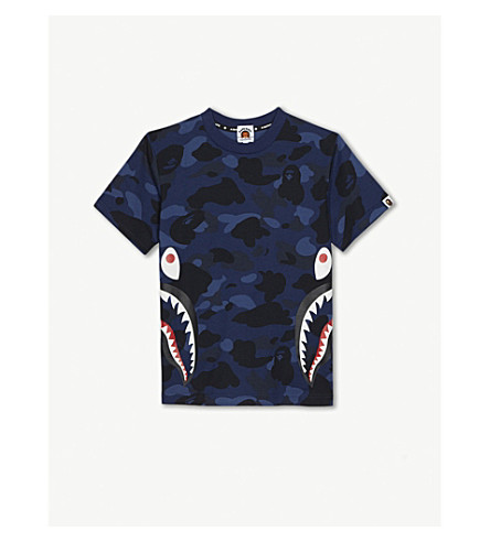 A BATHING APE Shark motif camouflage cotton T-shirt 4-10 years (Nvy
