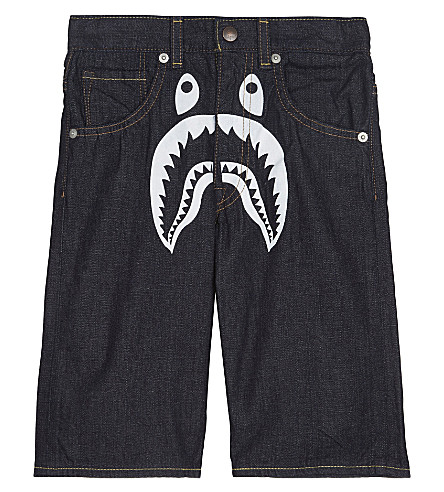 A BATHING APE Shark print denim shorts 4-8 years (Denim