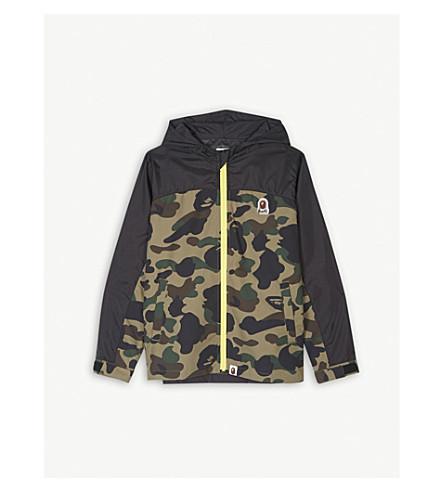 A BATHING APE Camouflage logo hooded jacket 4-8 years (Grn