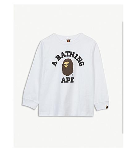 A BATHING APE Logo cotton long sleeved T-shirt 4-8 years (Wht